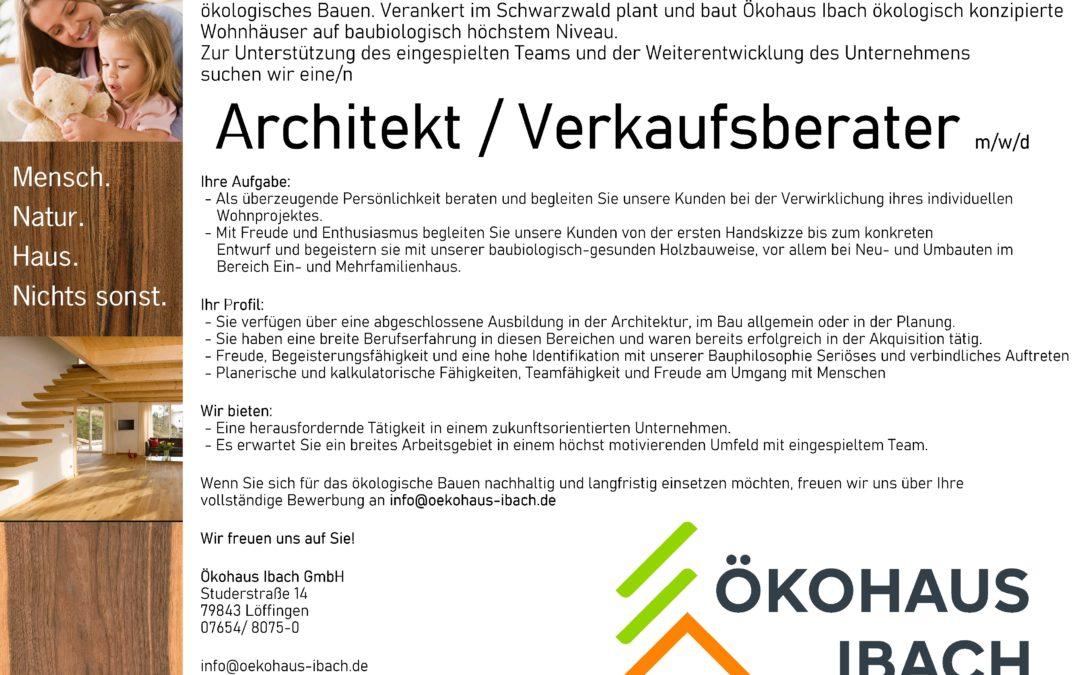 Wir stellen ein: Architekt / Verkaufsberater m/w/d